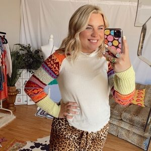 free people multicolor long sleeve knit thermal
